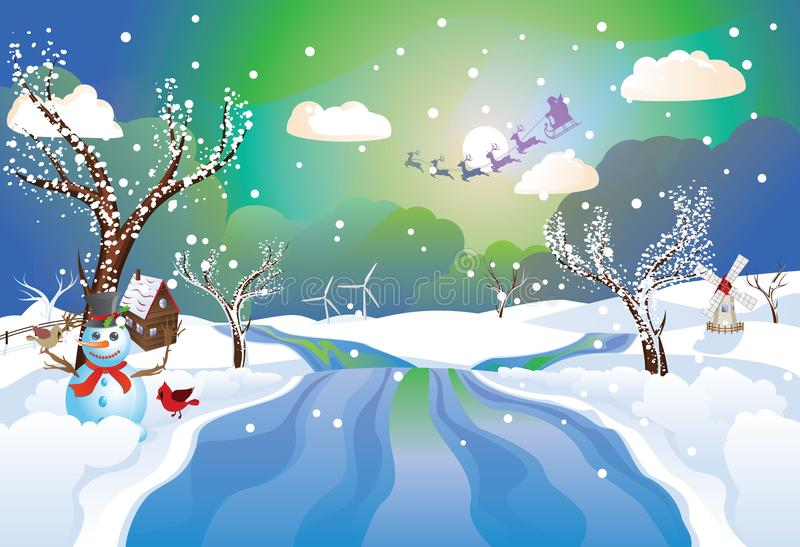 Santa Riding Christmas Sleigh at Night vector illustration
