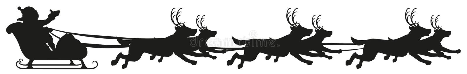 Santa riding dog sled ride. Black silhouette of dogs with horns of deer. Isolated on white vector illustration vector illustration
