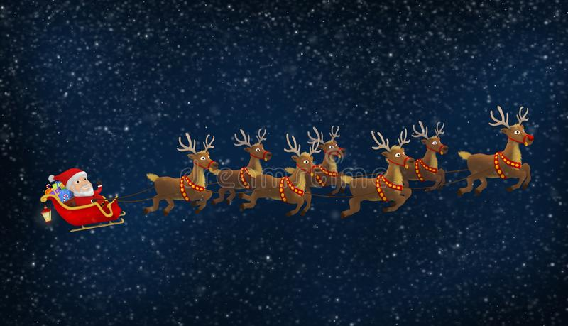 Santa Riding His Sleigh With-Rendieren royalty-vrije illustratie