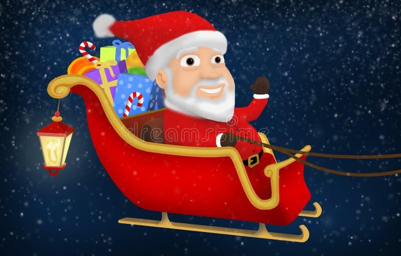 Santa Riding His Sleigh stock photo