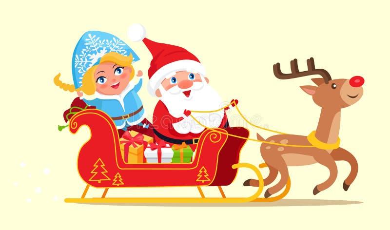 Santa Riding na ilustração do vetor do cartaz do trenó ilustração stock
