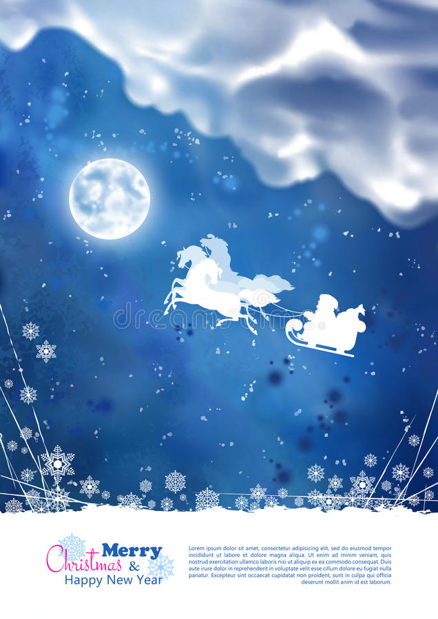 Santa Riding Sleigh Christmas Background ilustração stock