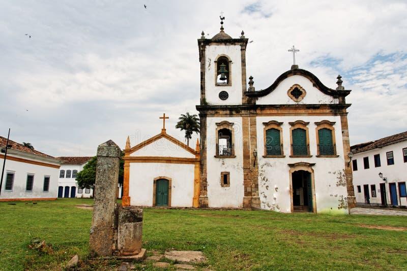 Santa Rita Church Paraty Rio de Janeiro. The facade of the typical portuguese colonial style single tower Santa Rita church in the historical downtown of Paraty stock photos