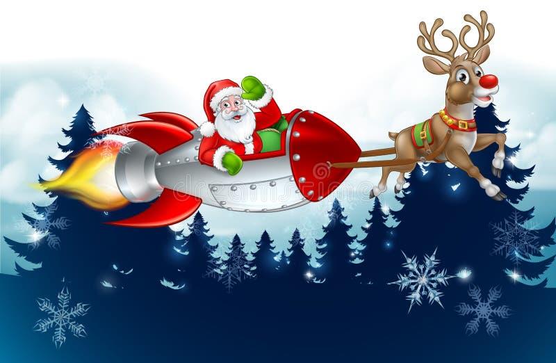 Santa Rocket Sleigh Christmas Background stock illustratie