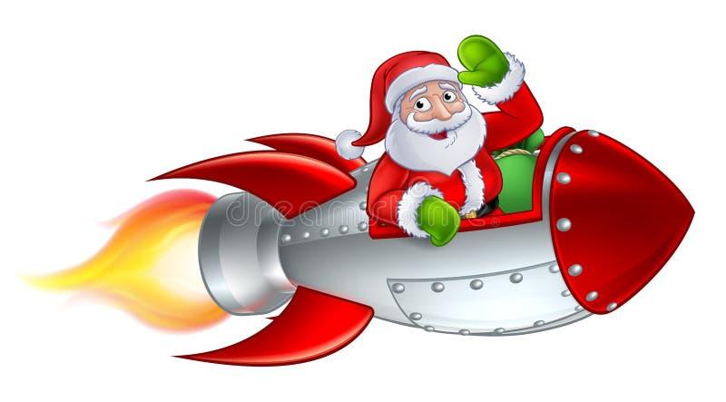 Santa Rocket Sleigh Christmas Cartoon royalty illustrazione gratis