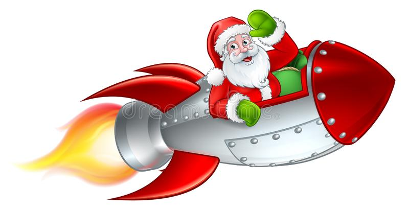 Santa Rocket Sleigh Christmas Cartoon ilustración del vector