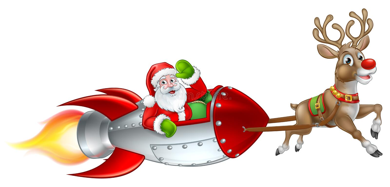 Santa Rocket Sleigh Christmas Cartoon vector illustratie
