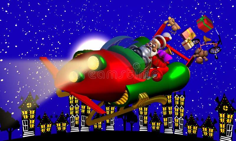 Santa Rocket Sleigh stock illustration