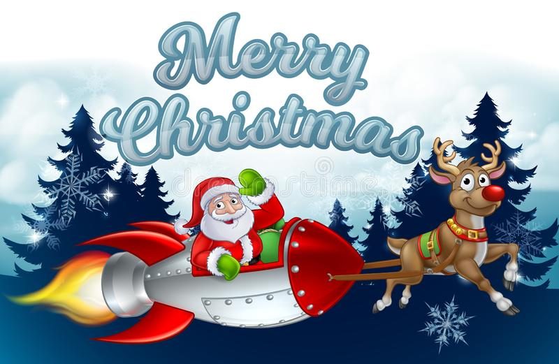 Santa Rocket Sleigh Merry Christmas Background royalty-vrije illustratie