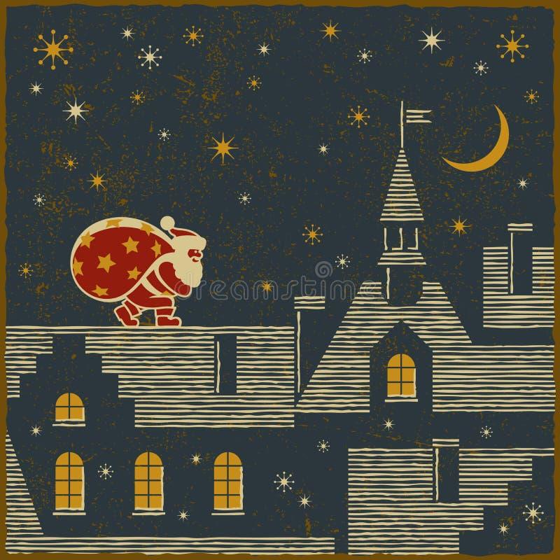 Santa on the roof royalty free illustration