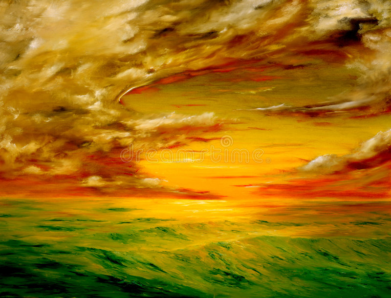 Santa Rosa California. Original oil painting of the Beautiful sunset off the coast of california