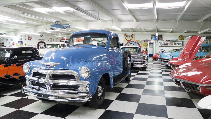 Santa Rosa, nanômetro, sala da mostra do museu de Route 66 auto fotografia de stock