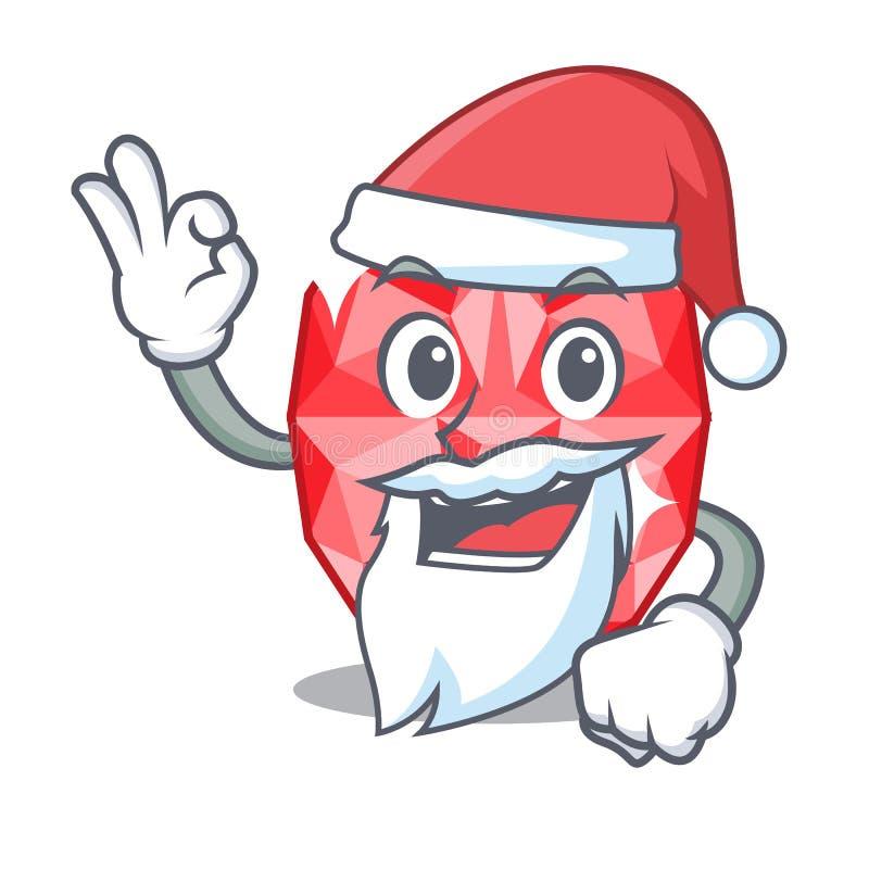 Santa ruby gems in the mascot shape. Vector illustration royalty free illustration
