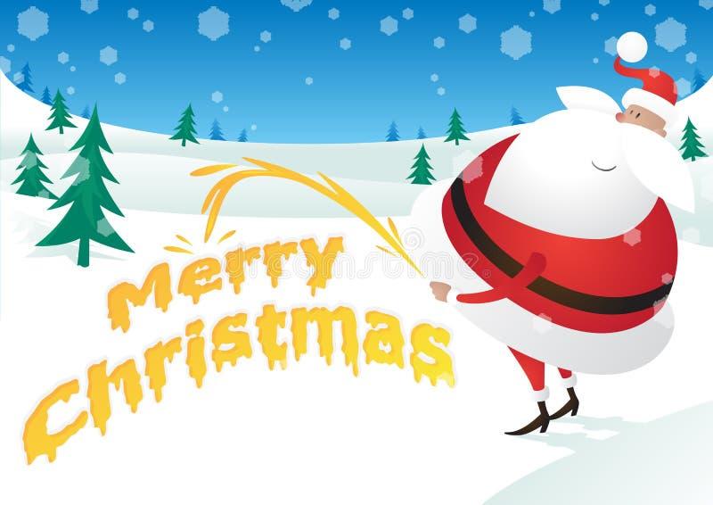 Santa rude toma o xixi e diz o Feliz Natal ilustração royalty free
