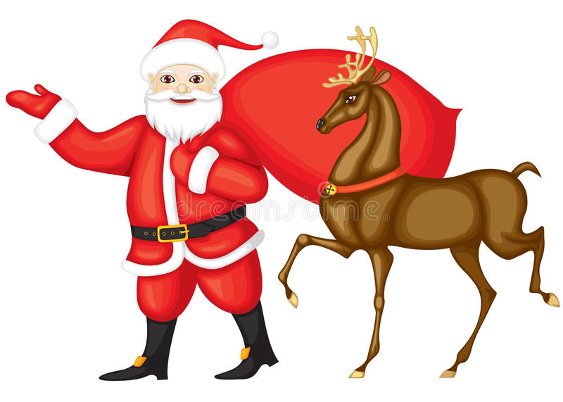 Santa and Rudolph. Santa Claus and Rudolph run next. Santa carries a bag with gifts, smiles and shows the way of the hand. On the neck of Rudolph the red collar vector illustration