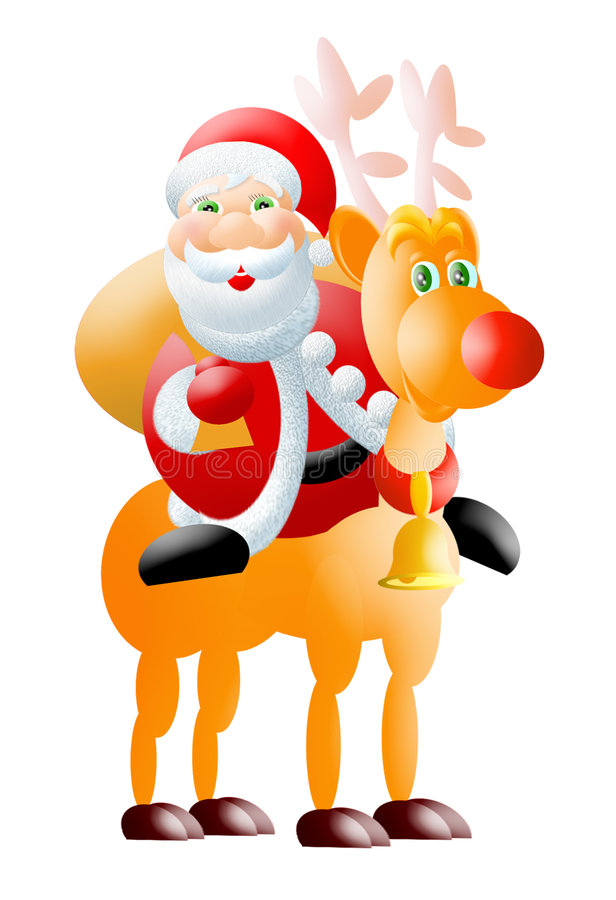 Santa&rudolph royalty free illustration