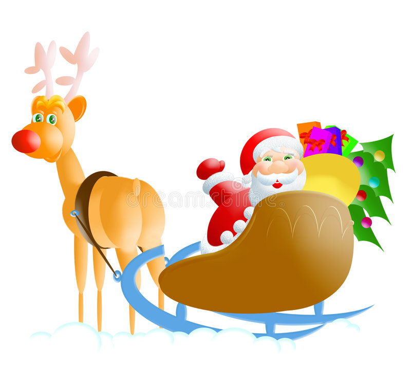 Santa-rudolph royalty free illustration
