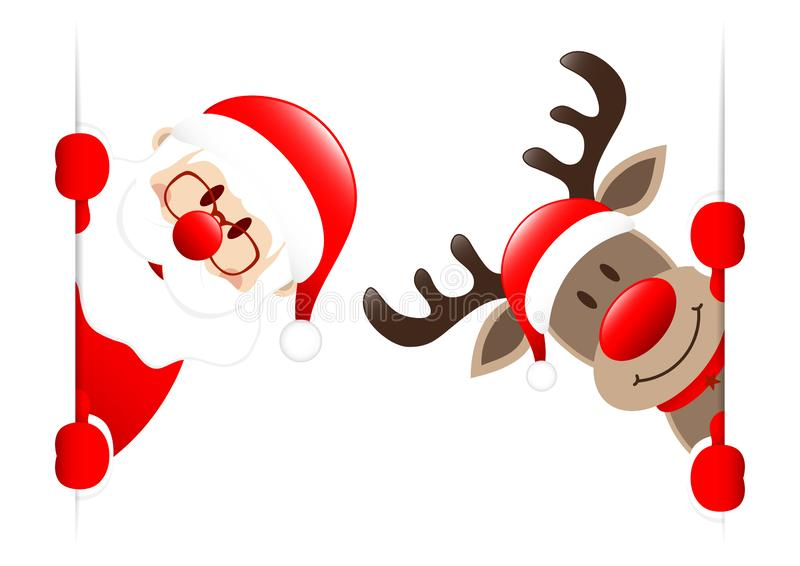 Santa And Rudolph Inside Vertical-Banner stock illustratie