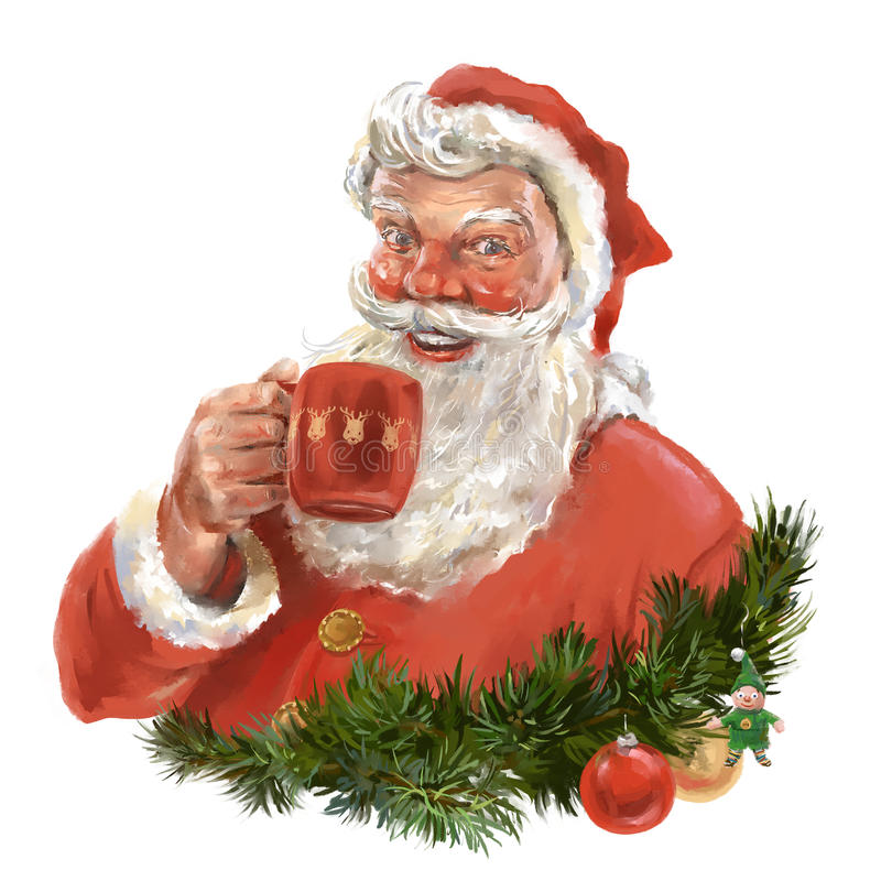 Santa's beverage royalty free illustration