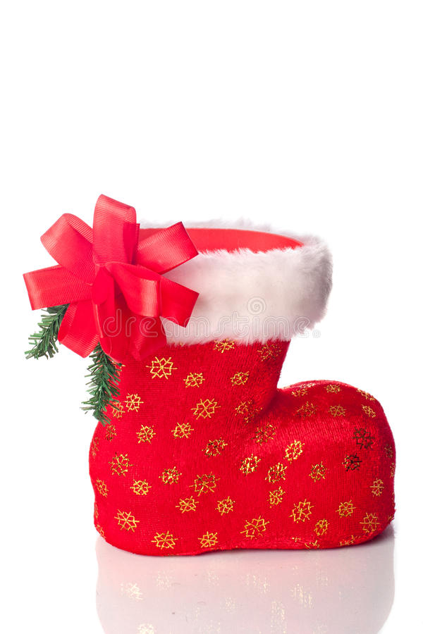 Download Santa's Boot Decorated With Xmas Bow Royalty Free Stock Photo - Image: 22314335