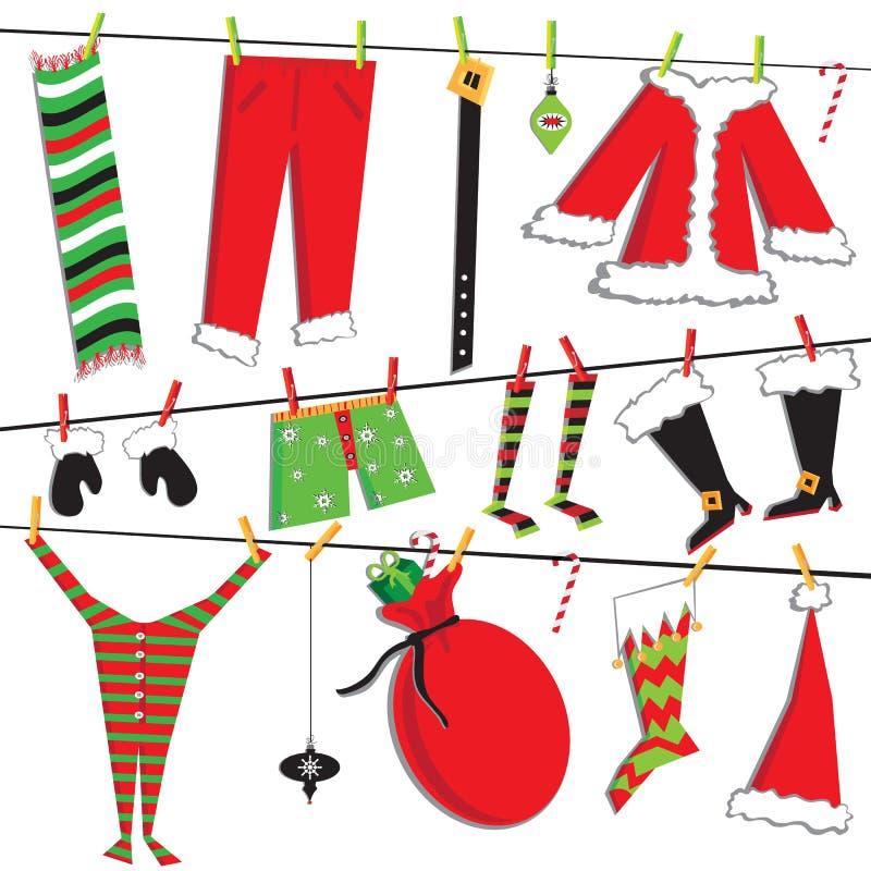 Santa's Christmas clothesline royalty free illustration