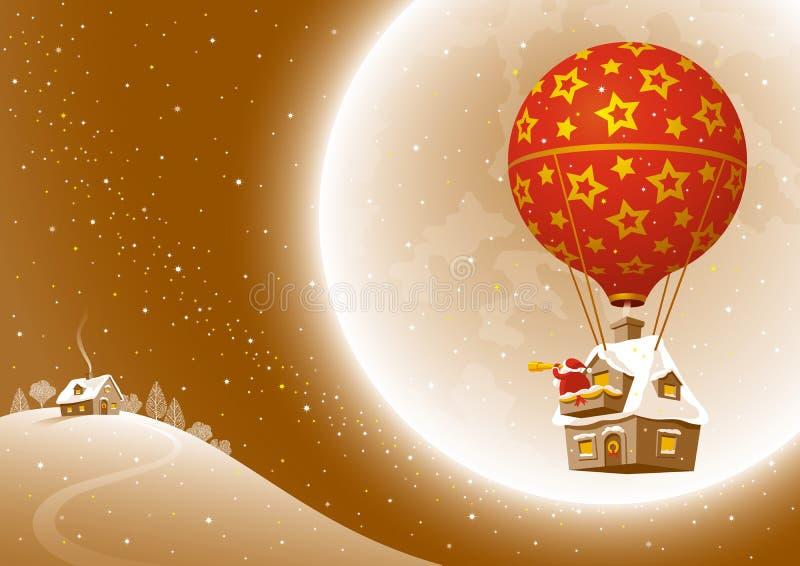 Santa's Christmas flight vector illustration