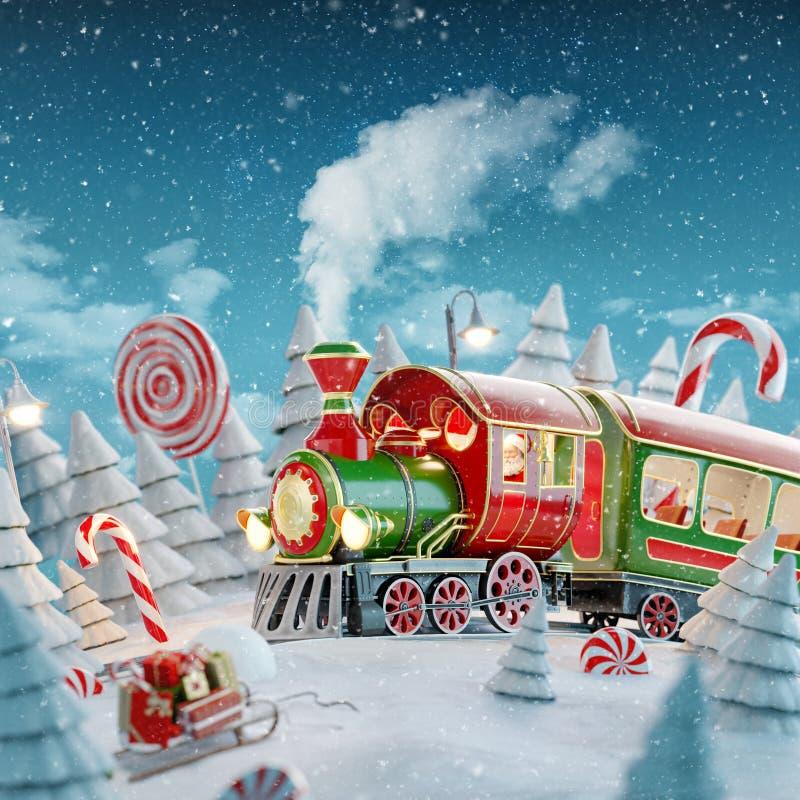 Free Santa`s Christmas Train Royalty Free Stock Images - 161496809