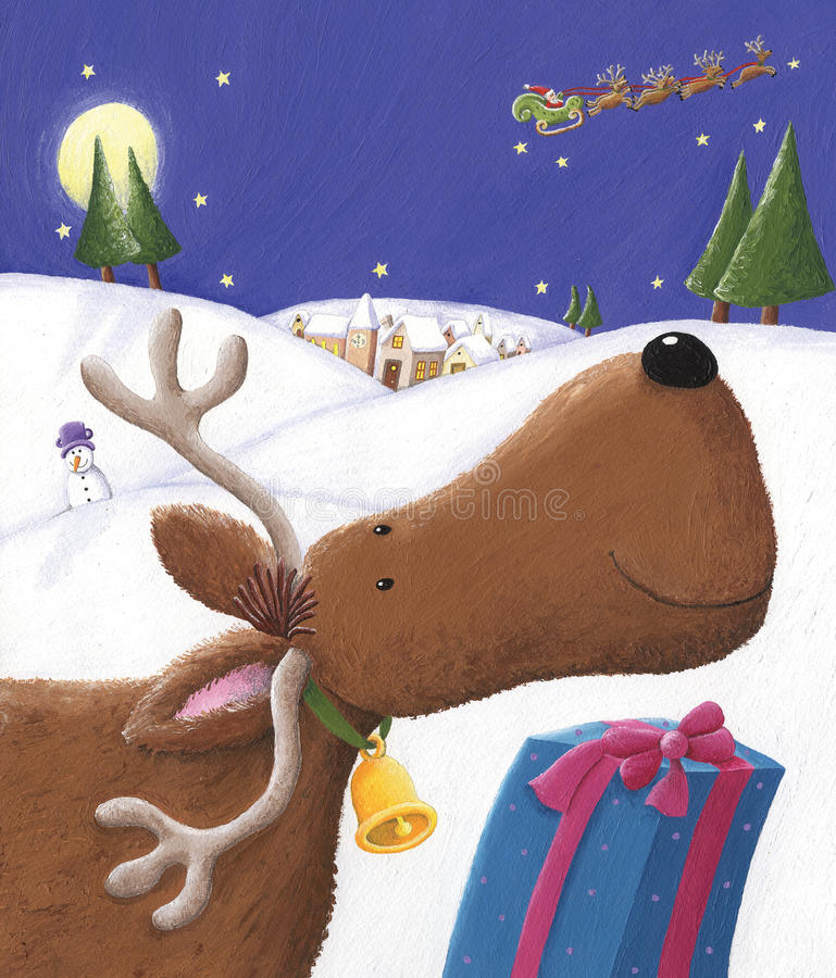 Santa's deer royalty free illustration