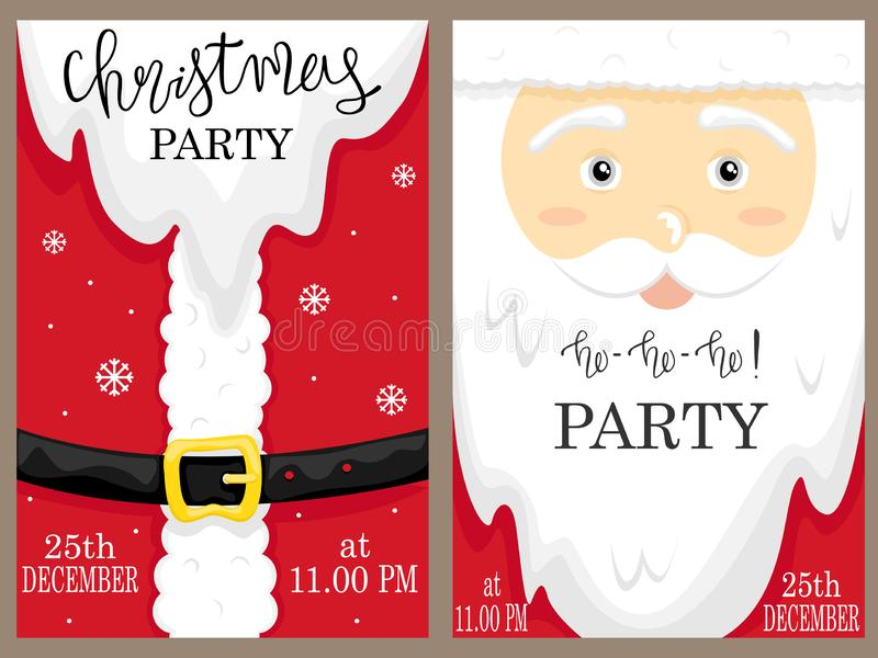 Santa`s face and red suit. Set of Christmas and New Year party posters royalty free illustration