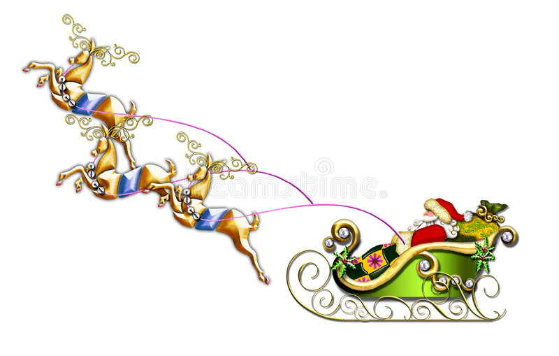 Santa's flight stock illustration