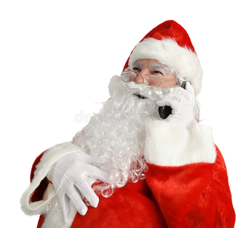 Santa's Funny Phone Call. Santa laughing out loud as he talks on his cell phone. Isolated on white