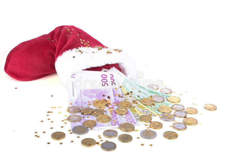 Download Santa's Hat With Euro Money Stock Image - Image: 35580161