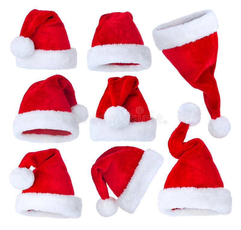 Santas Hat set. Over white background stock image