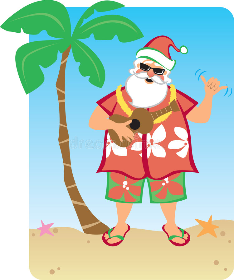 Santa's Hawaiian Christmas. Illustration of Santa hanging out on a Hawaiian Beach