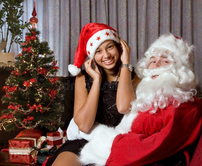 On santa s lap