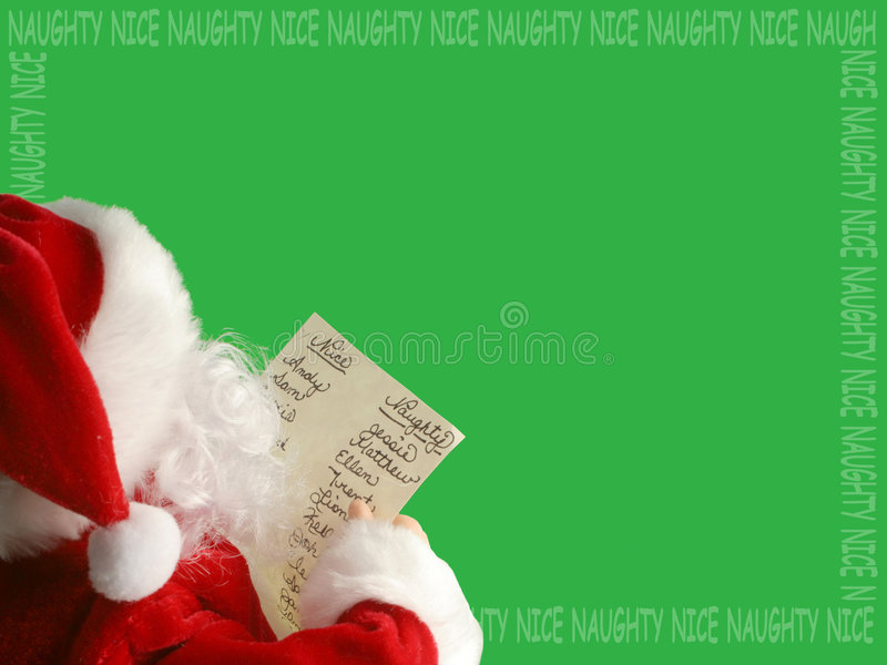 Santa's list border. Santa Claus reads the list of who's been nauty or nice