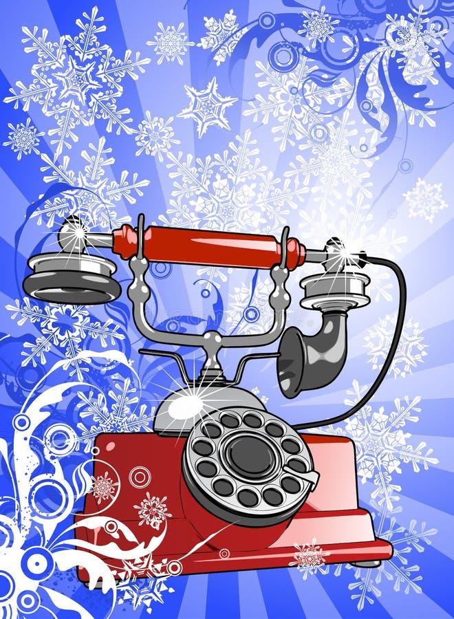 Santa's phone. Red vintage phone on blue background & snowflakes stock illustration