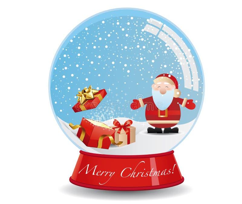 Santa s presents snow globe stock vector illustration