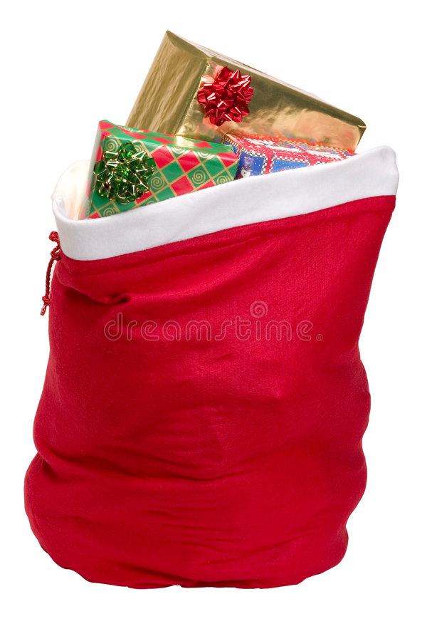 Santa's Sack. Filled with presents, with clipping path