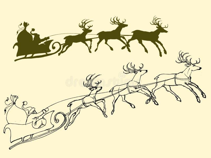 Santa ` s sanie deers ilustracja wektor