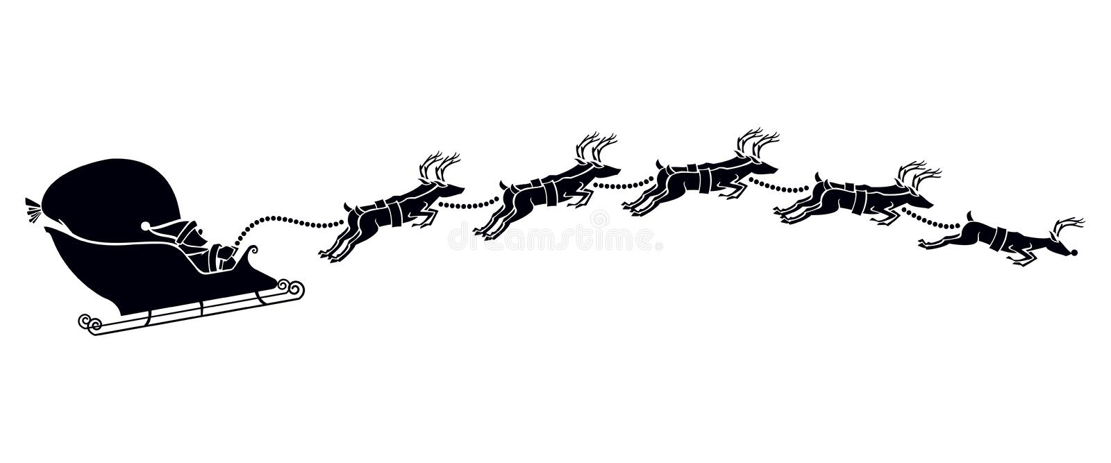 Santa's Sled Silhouette. Vector illustration of Santa Claus and his sleigh with his reindeer as a silhouette vector illustration