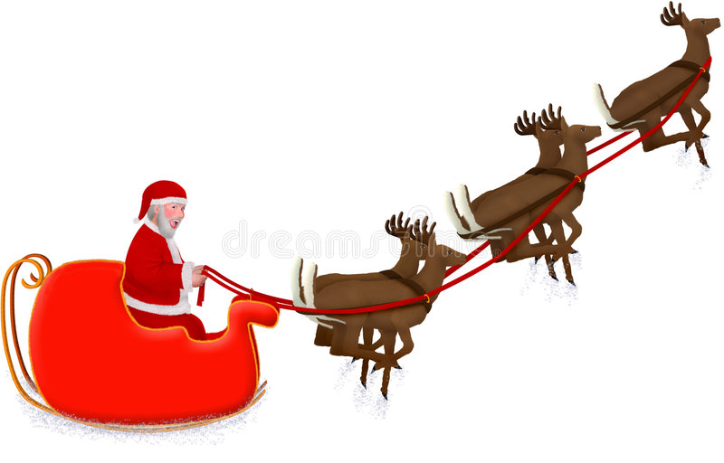 Santa's Sleigh. An illustration of santa's sleigh being pulled by reindeer stock illustration