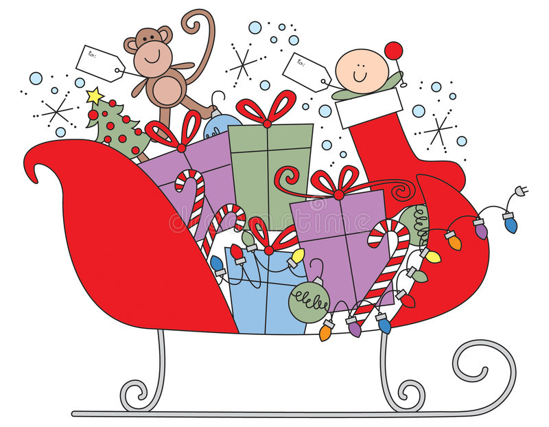 Download Santa's Sleigh stock illustration. Illustration of stocking - 383853