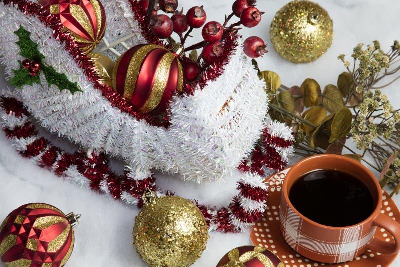 santa u0026 39 s sleigh setting for christmas and coffee stock