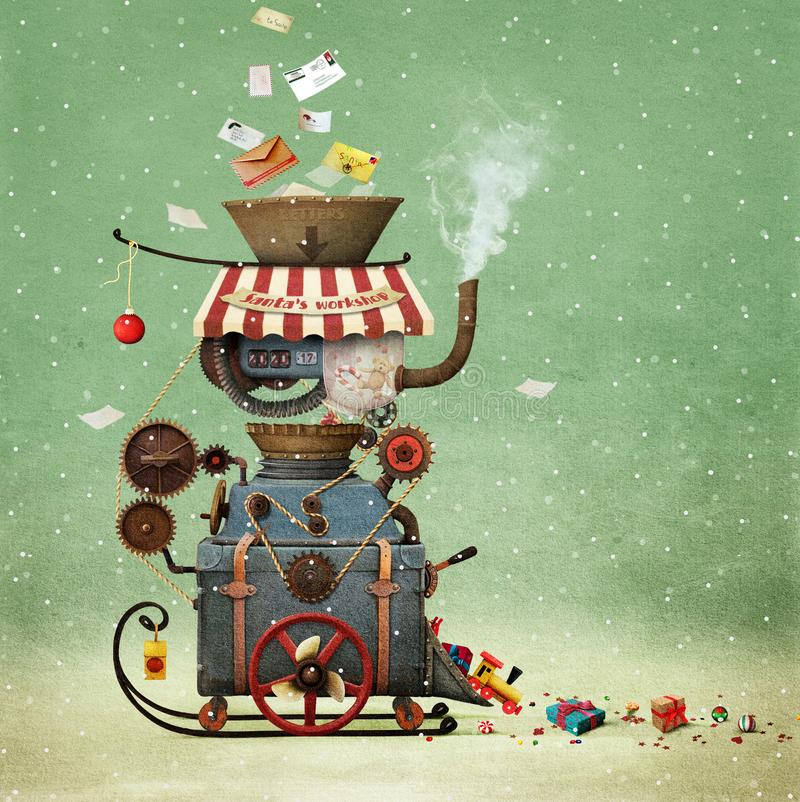 Santa`s Workshop. Conceptual illustration greeting illustration or postcard Christmas or New year with Santa`s workshop bizarre industrial car to create gifts vector illustration