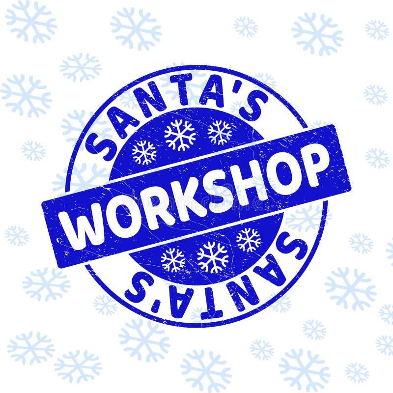 Santa`S Workshop Grunge Round Stamp Seal for New Year royalty free illustration