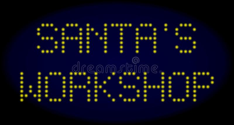 SANTA`S WORKSHOP Led Style Caption with Glowing Dots royalty free illustration