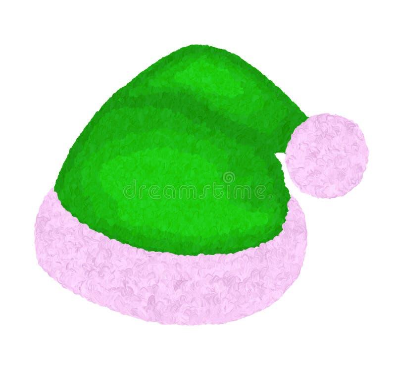 Santa ` s zieleni Bożenarodzeniowy Owłosiony Headpiece ilustracji