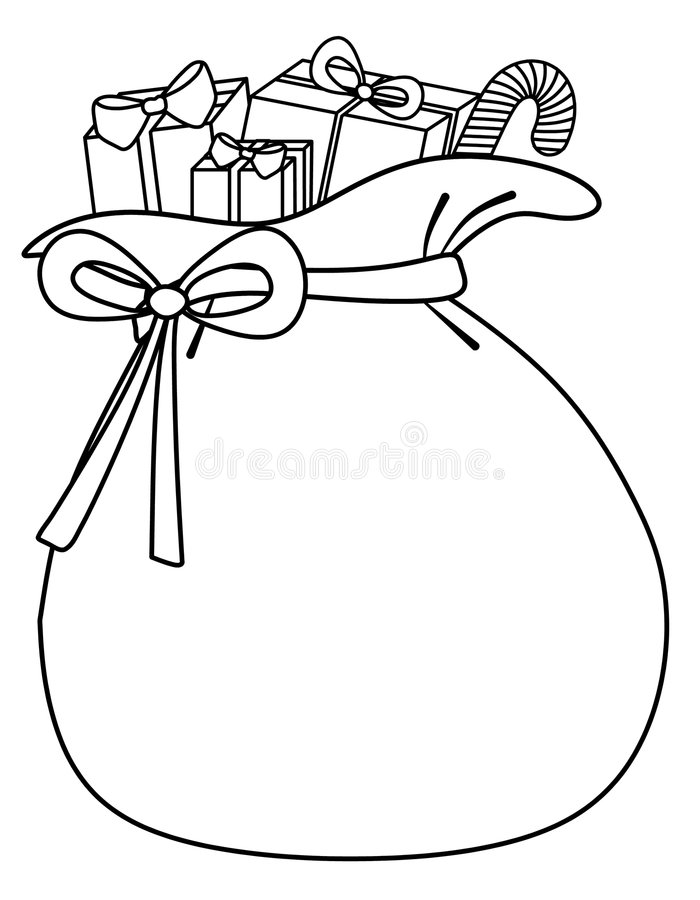 Santa Sack of Toys Background. An illustration featuring a black and white outline of Santa's sack of toys. The sack is specifically designed to allow for custom royalty free illustration