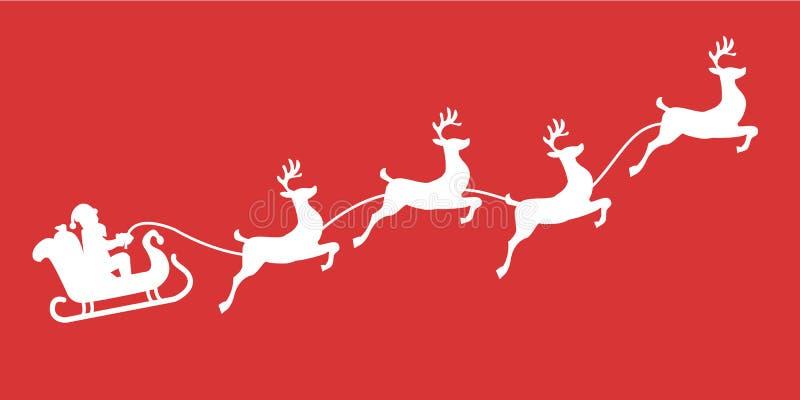 Santa sania reniferowa sylwetka z śniegiem royalty ilustracja